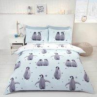 Starry Penguins Duvet Set, Blue, Double - Rapport