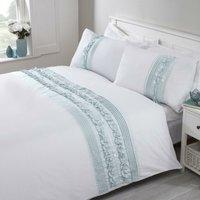Rapport Tilly Embellished Duvet Cover Set Traditional Bedding Bed Set Duck Egg Super King