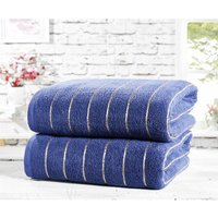 Two Piece 100% Cotton Towel Set Modern Striped Navy Bath Sheets - Rapport