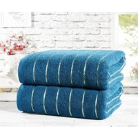 Rapport Two Piece 100% Cotton Towel Set Modern Striped Teal Bath Sheets