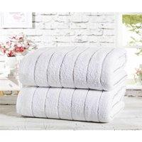 Two Piece 100% Cotton Towel Set Modern Striped White Bath Sheets - Rapport
