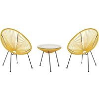 Mid Century Modern Garden Bistro Set Table and Chairs 3 Piece Yellow Acapulco II