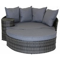 Charles Bentley Rattan Day Bed With Foot Stool And Table - Grey - Gray
