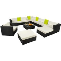 Rattan garden furniture lounge Las Vegas - garden sofa, garden corner sofa, rattan sofa - black