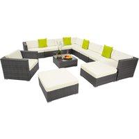 Rattan garden furniture lounge Las Vegas - garden sofa, garden corner sofa, rattan sofa - grey
