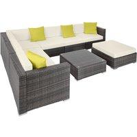 Rattan garden furniture lounge Marbella - garden sofa, garden corner sofa, rattan sofa - grey