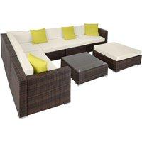 Rattan garden furniture lounge Marbella - garden sofa, garden corner sofa, rattan sofa - mixed brown