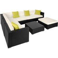 Rattan garden furniture lounge Marbella - garden sofa, garden corner sofa, rattan sofa - black