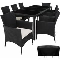 Tectake - Rattan garden furniture set 8+1 Valencia with protective cover - garden tables and chairs, garden furniture set, outdoor table and chairs