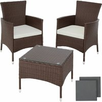 Tectake - Rattan garden furniture set Lucerne - garden tables and chairs, garden furniture set, outdoor table and chairs - braun gemischt