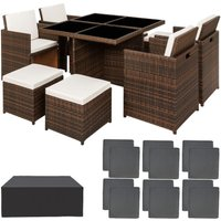 Rattan garden furniture set Manhattan with protective cover - garden tables and chairs, garden furniture set, outdoor table and chairs - black/brown