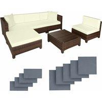Rattan garden furniture set with aluminium frame, variant 2 - garden sofa, rattan sofa, garden sofa set - black/brown