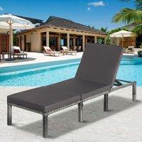 Merax - Rattan Garden Sun Lounger Sun Bed with Cushions Recliner Garden Chair Black