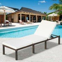 Merax - Rattan Garden Sun Lounger Sun Bed with Cushions Recliner Garden Chair Grey
