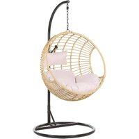Beliani - Boho Beige Rattan Hanging Chair with Base Indoor-Outdoor Wicker Round Aspio