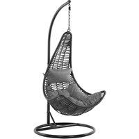 Beliani - Boho Wicker Hanging Egg Chair with Stand Swing Seat Black PE Rattan Atri