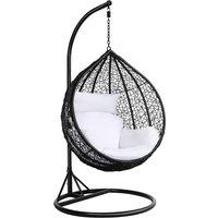 Rattan Hanging Swing Chair with cushion Wicker Beach Garden Hanging Hammock Seat