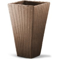 Deuba - Plant Pot Large Wicker Planters Balcony Flowers Plants Box 70cm Grey Brown Pot Brown
