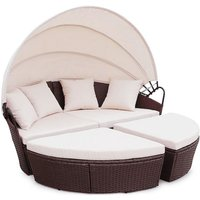 Rattan Outdoor Garden Bali Day Bed Patio Sun Lounge in Brown - Brown
