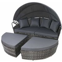 Rattan Outdoor Garden Bali Day Bed Patio Sun Lounge in Mixed Grey - Mixed Grey