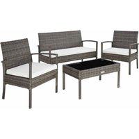 Tectake - Rattan garden furniture set Sparta 3+1 - garden tables and chairs, garden furniture set, outdoor table and chairs - grey - grey