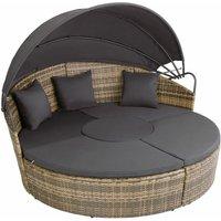 Rattan sun lounger island Santorini - garden lounge chair, sun chair, double sun lounger - nature