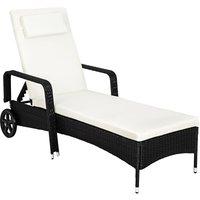 Sun lounger rattan - reclining sun lounger, garden lounge chair, sun chair - black