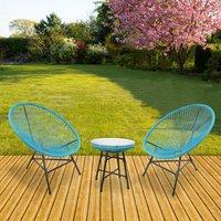 RayGar 3pcs Bistro Egg Designer String Chair Indoor and Garden Set - Blue