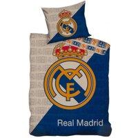 Crest Duvet Cover Set (Single) (Grey/Blue/Gold) - Real Madrid Cf