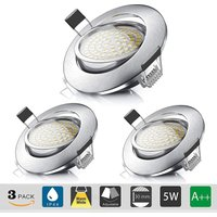 Recessed LED Spotlight, Recessed Ceiling 5W Equivalent to 60W Halogen Bulb, Warm White 3000K 550LM, Adjustable IP44 Projector for Bathroom, Living