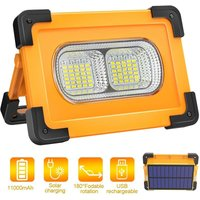 Rechargeable LED Flood Light 80W 4000 Lumens Portable Floodlight with Solar Panel 4 Modes Super Bright Work Light with 11000mAh Battery for Camping,