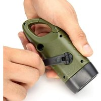 Rechargeable Solar Flashlight, LED Crank Dynamo Emergency Lamp Flashlight with Carabiner for Hiking Travel Camping Climbing, Army Green [Energy class