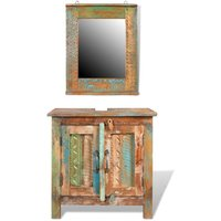 Reclaimed Solid Wood Bathroom Vanity Cabinet Set with Mirror - YOUTHUP