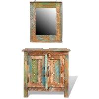 Zqyrlar - Reclaimed Solid Wood Bathroom Vanity Cabinet Set with Mirror - Multicolour