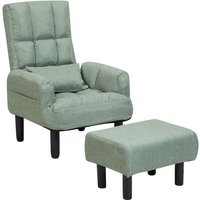 Beliani - Reclining Fabric Armchair and Ottoman Set Green Upholstery Wooden Legs Oland II