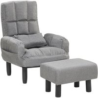 Beliani - Reclining Fabric Armchair and Ottoman Set Grey Upholstery Wooden Legs Oland II