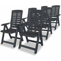 Zqyrlar - Reclining Garden Chairs 6 pcs Plastic Anthracite - Grey
