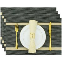 Bearsu - Rectangle Placemats for Dining Table Set of 6 Woven Table Mats Wipeable Stripes Vinyl Place Mats for Kitchen Hotel Business Holiday Dining