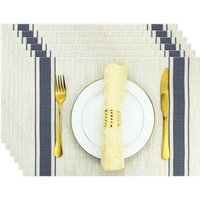 Bearsu - Rectangle Placemats for Dining Table Set of 6 Woven Table Mats Wipeable Stripes Vinyl Place Mats for Kitchen Hotel Holiday Farmhouse Dining