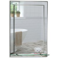 Mood - Rectangular Bathroom Mirror, Wall Mounted and Double Layered with Shelf. 50cm x 40cm
