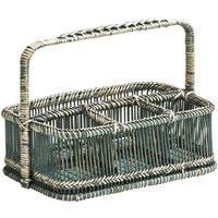 Rectangular Caddy Basket,Rattan/Bamboo,Rustic Grey Washed - BIG LIVING