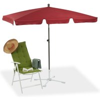 Rectangular Parasol, 200 x 120 cm Garden Beach and Balcony Umbrella with Titling Feature, Bordeaux