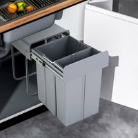 Recycle Bin Soft Close Pull Out Kitchen Waste Bins For 300Mm Cabinet Unit 1X10L+1X20L - LIVINGANDHOME