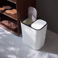 Recycling Bin 12L Double Dustbin Lid Dual Kitchen Dust Rubbish Bins Waste Compost Push Button 2 Compartments 2x12 Litre White - LIVINGANDHOME