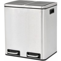 Recycling Pedal Bin Garbage Trash Bin Stainless Steel 2x15 L - YOUTHUP
