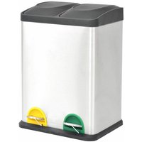 Recycling Pedal Bin Garbage Trash Bin Stainless Steel 2x18 L - YOUTHUP