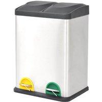 Recycling Pedal Bin Garbage Trash Bin Stainless Steel 2x18 L - Silver