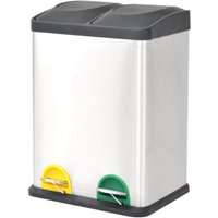 Recycling Pedal Bin Garbage Trash Bin Stainless Steel 2x18 L - ASUPERMALL