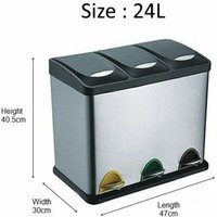 Recycling Bin with Lids for Kitchen / 24 Litre Capacity / 3 Compartments Waste Separation/Colour Coded (24L (3x8L)) - Recyq