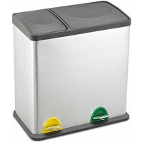 Recycling Bin with Lids for Kitchen / 36 Litre Capacity / 2 Compartments Waste Separation (35L (12L+24L)) - Evre